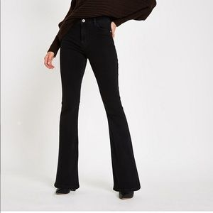 Black Denim Flare Jeans By River Island